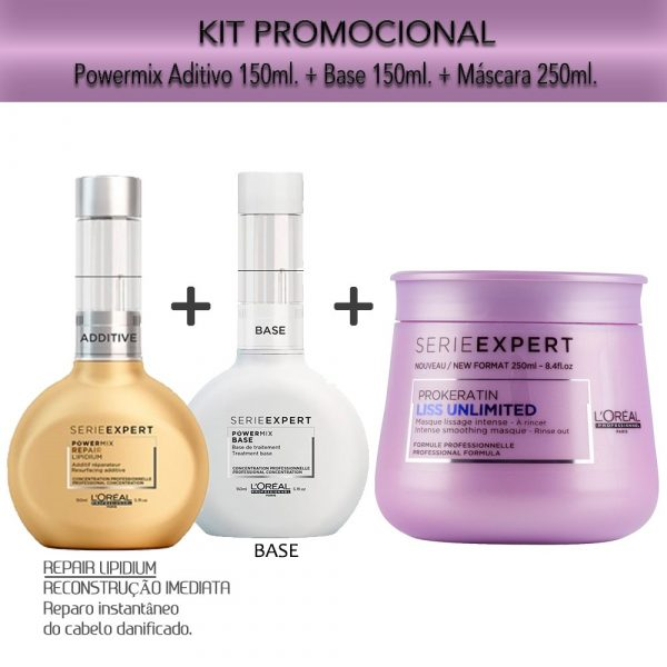 Kit Promocional Powermix Aditivo e Base + Máscara Liss Unlimited