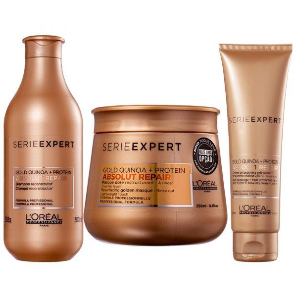 L'Oréal Absolut Repair Gold Quinoa Kit Shampoo+Máscara+Creme Pentear